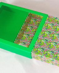 36 Bath Bodyworks green matt lanimation slide open drawer gift box with clear PET window (2)