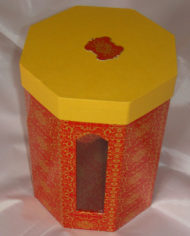 44 UV printing octagonal shape cardboard gift box with lid and PET window (2)
