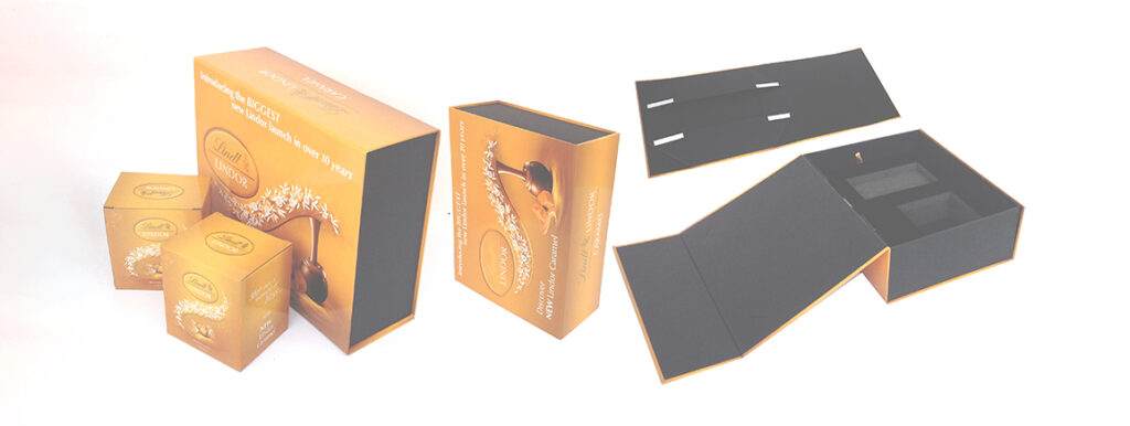 Collapisble magnetic flip top paper gift boxes for chocolate, nuts, beauty, and health care items